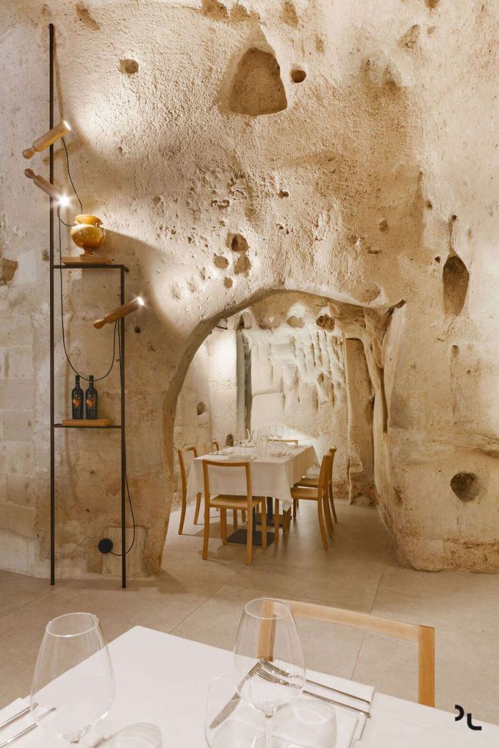 Pizzéria egy barlangban olasz design étterem