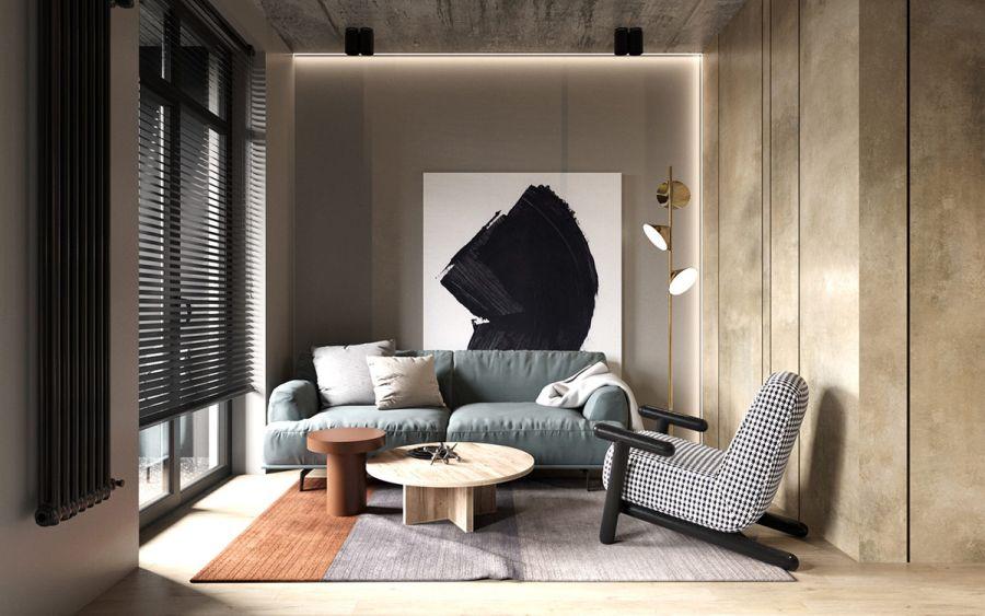 Kacsatojás kék kanapé nappaliban