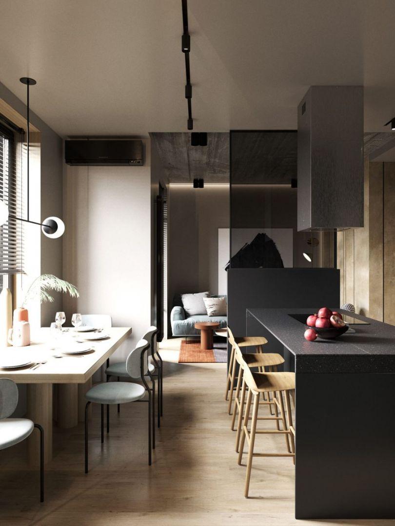 Kis lakás étkező elrendezés és reggelizőpult