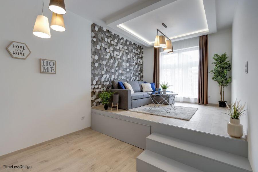 Dobogós kialakítású lépcsős ágy és nappali egyben
