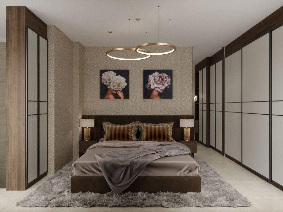 Modern lakás látványtervek - Szűcs Klára lakberendező hálószoba