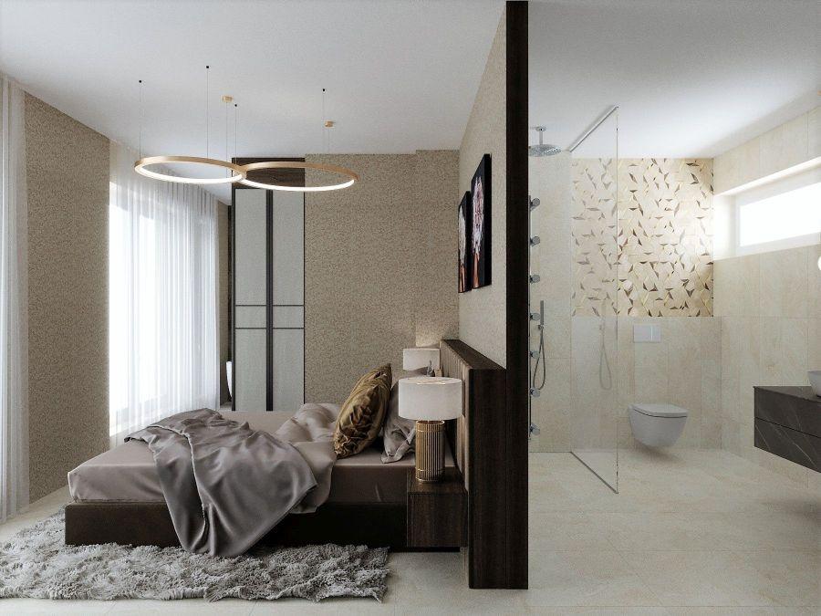 Modern lakás látványtervek - Szűcs Klára lakberendező ágy és fürdőszoba zuhanyzóval