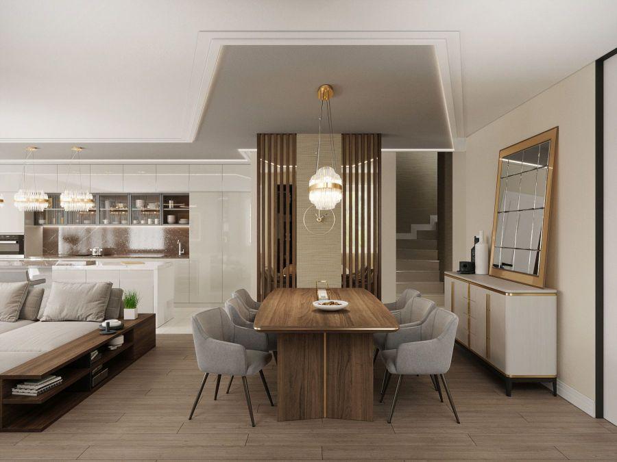 Modern lakás látványtervek - Szűcs Klára lakberendező étkező