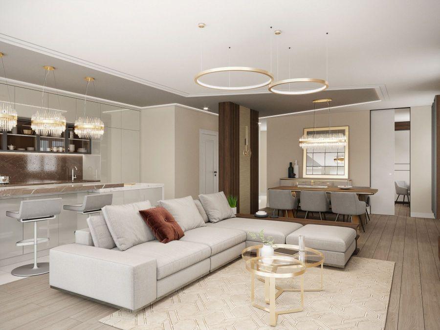Modern lakás látványtervek - Szűcs Klára lakberendező nappali