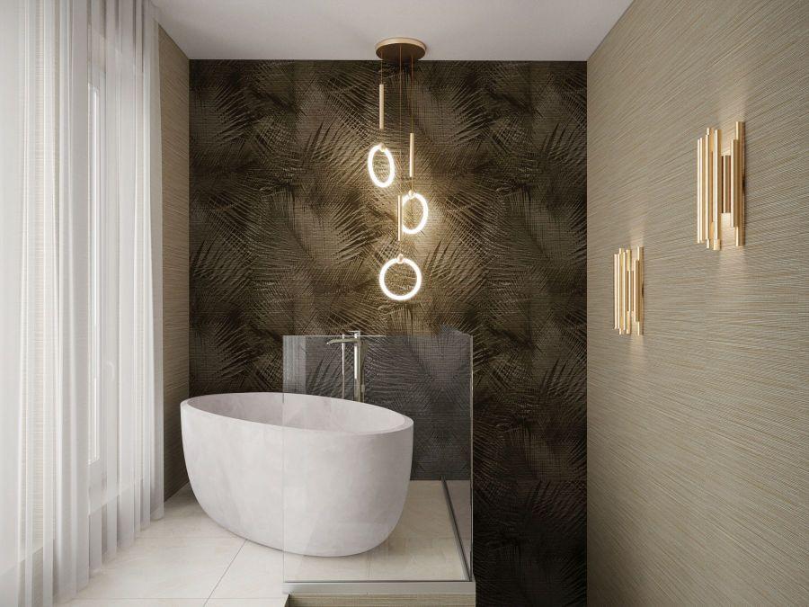 Modern lakás látványtervek - Szűcs Klára lakberendező térben álló fürdőkád