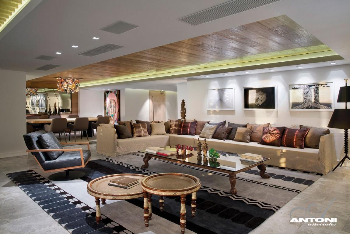 Eklektikus nappali és étkező lakberendezés