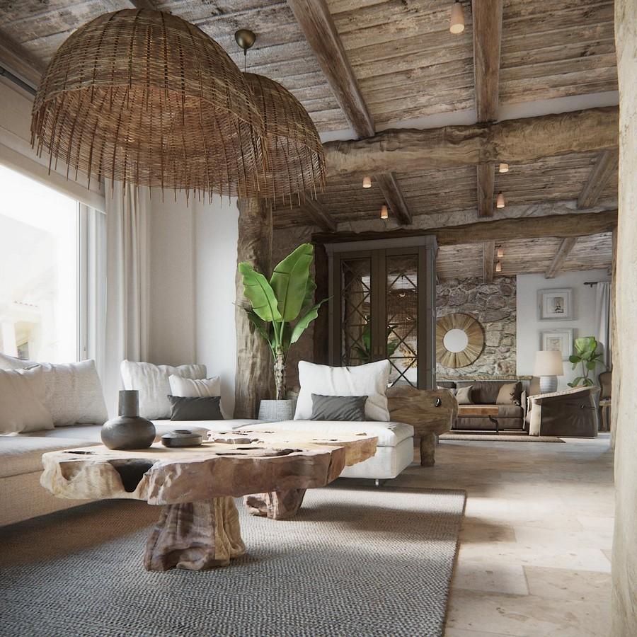 Modern mediterrán lakás nappalija