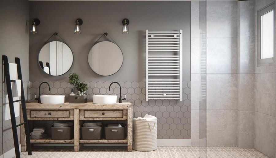 Rusztikus hangulatú fürdőszoba