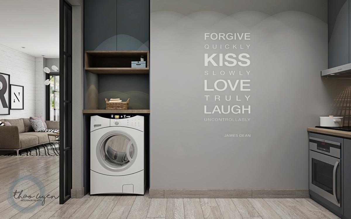 A mosógép a konyha részét képezi