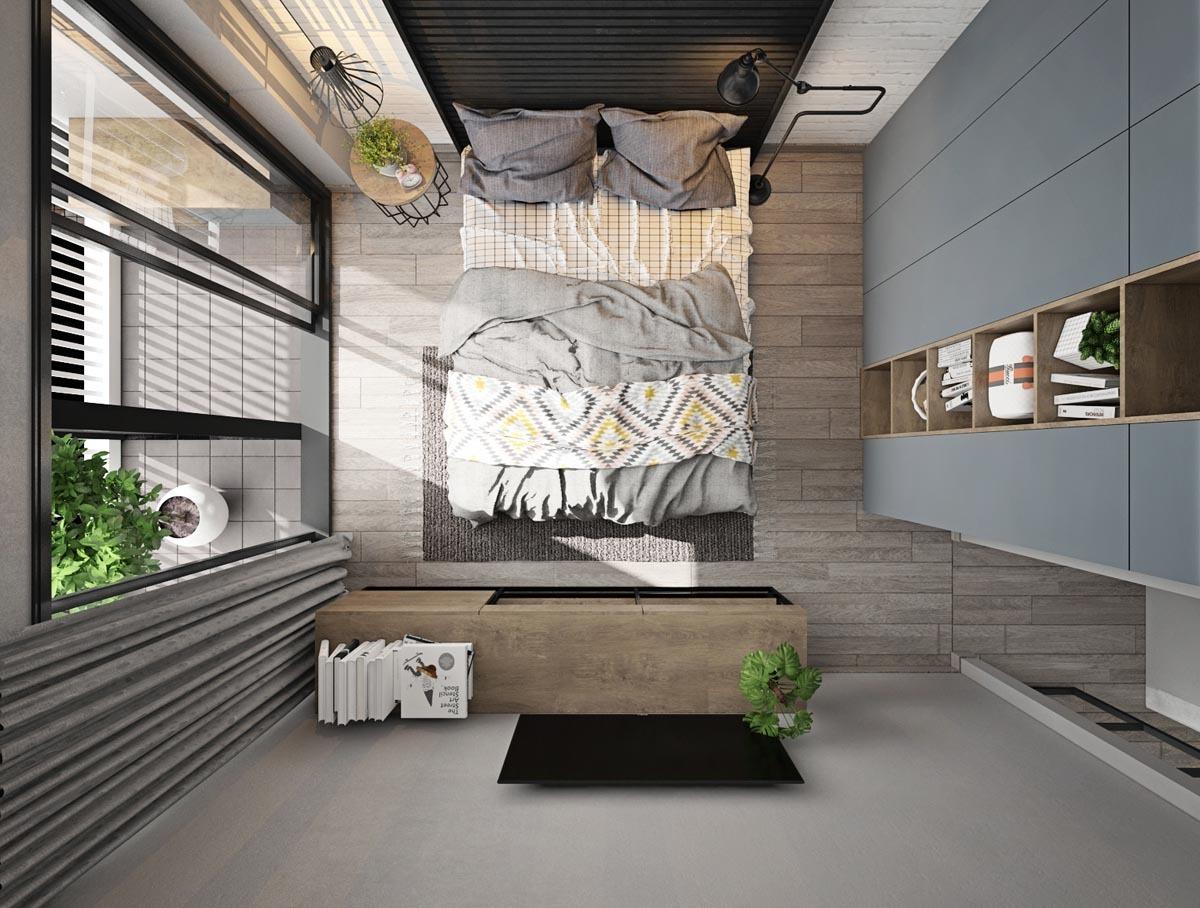 Kényelmes hálószoba felülnézetből