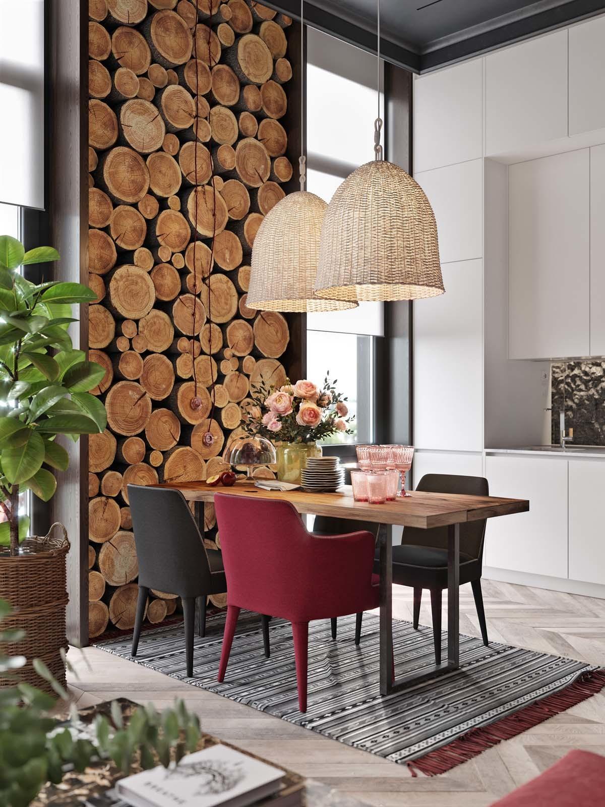 Étkező famintás tapéta dekorral