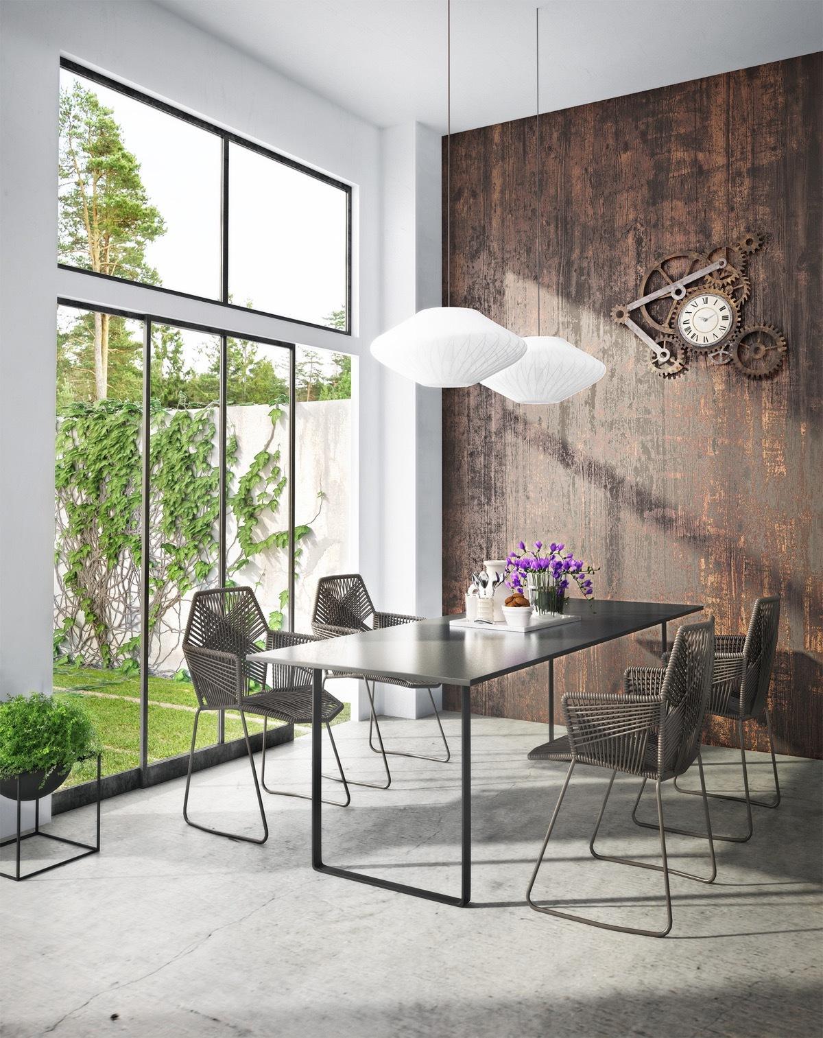 Modern étkező karfás székekkel