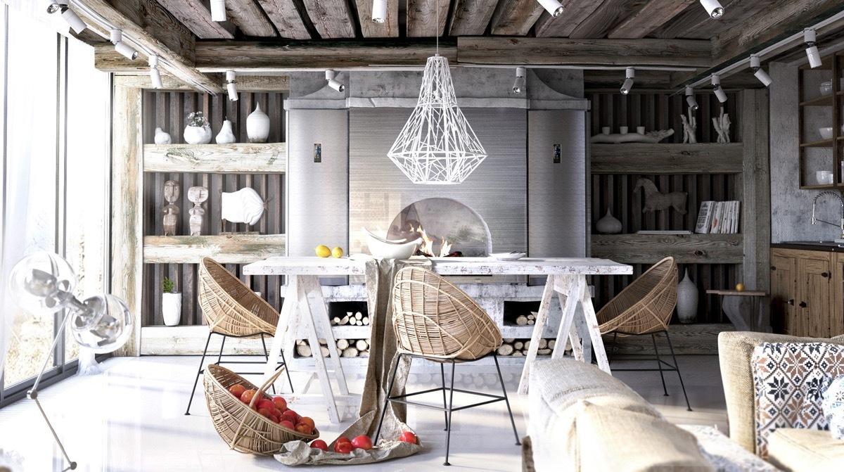 Festőbak étkezőasztl design fonott étkezőszékekkel