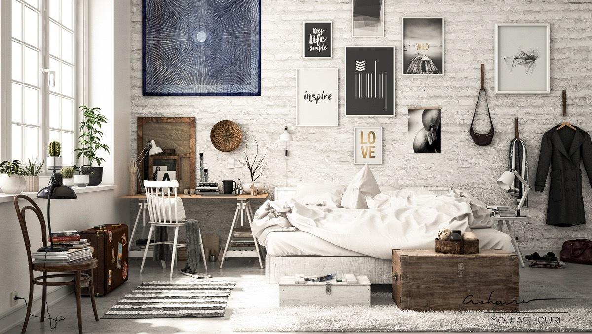 Loft stílusú fehér hálószoba