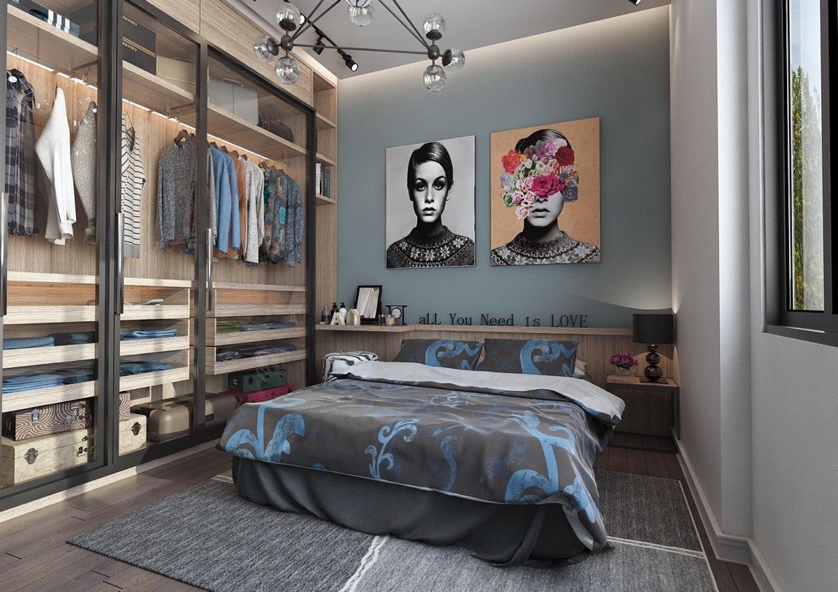 Modern hálószoba üvegajtós gardróbszekrénnyel