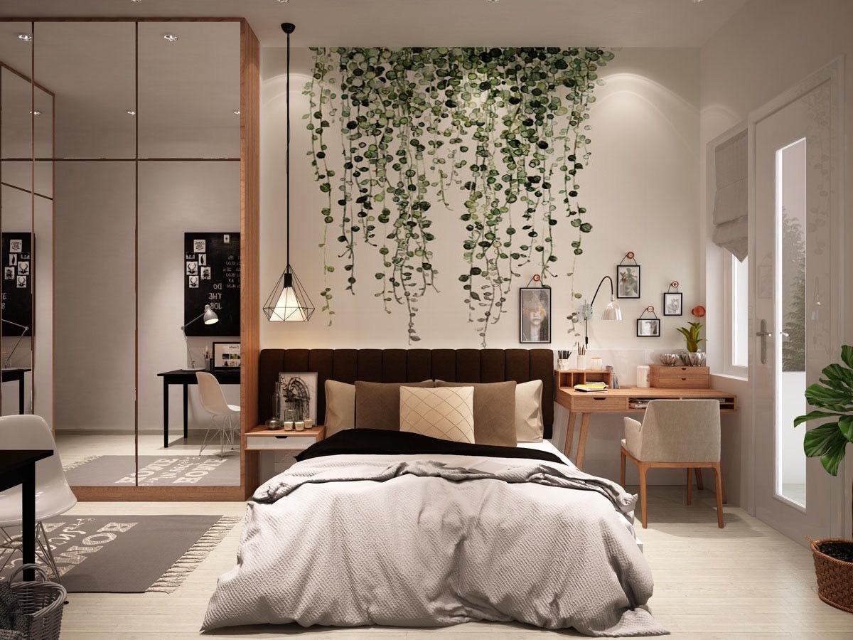 Hálószoba ahol a teret türkös gardróbszekrény növeli trükkösen