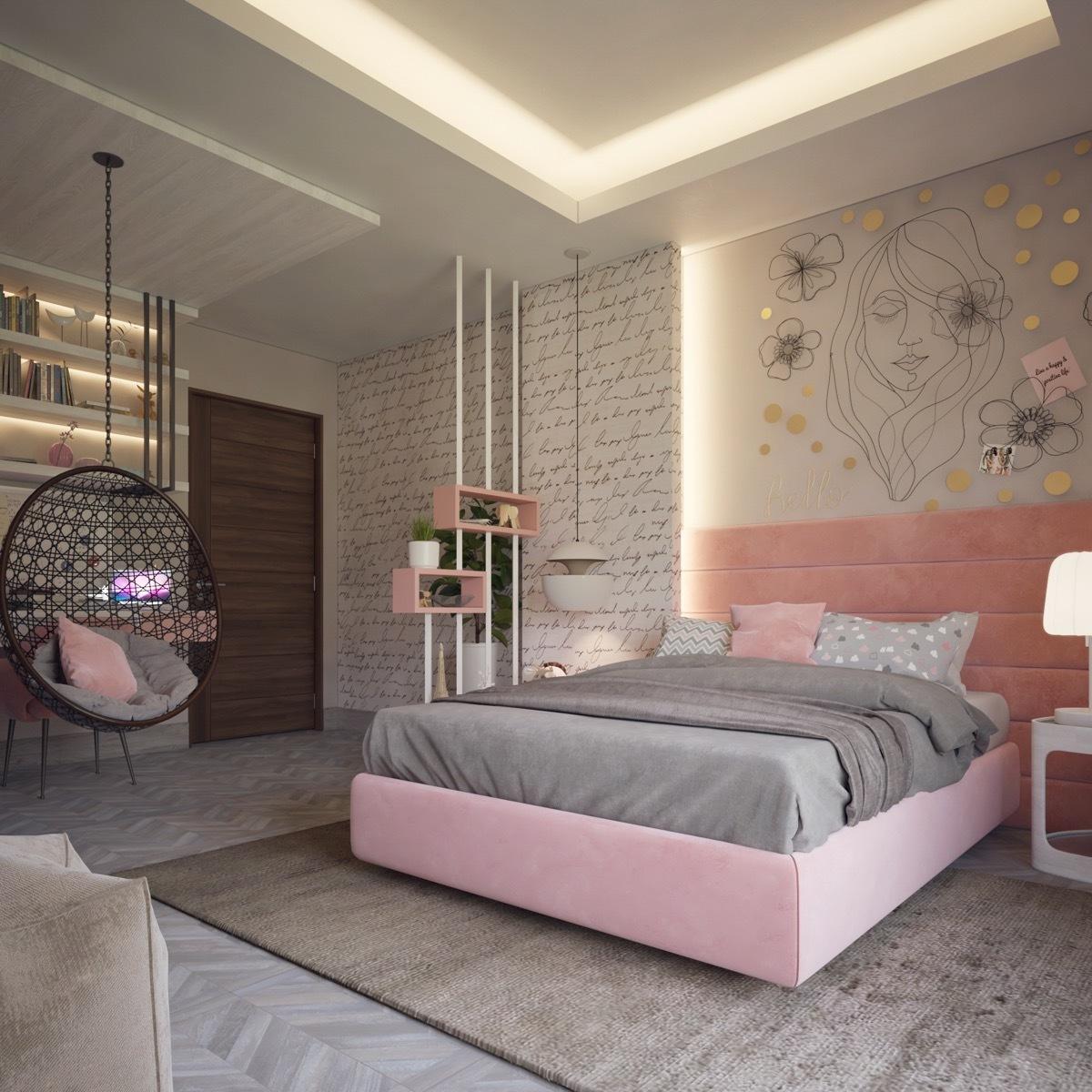 Csajos hálószoba rózsaszínre hangolva