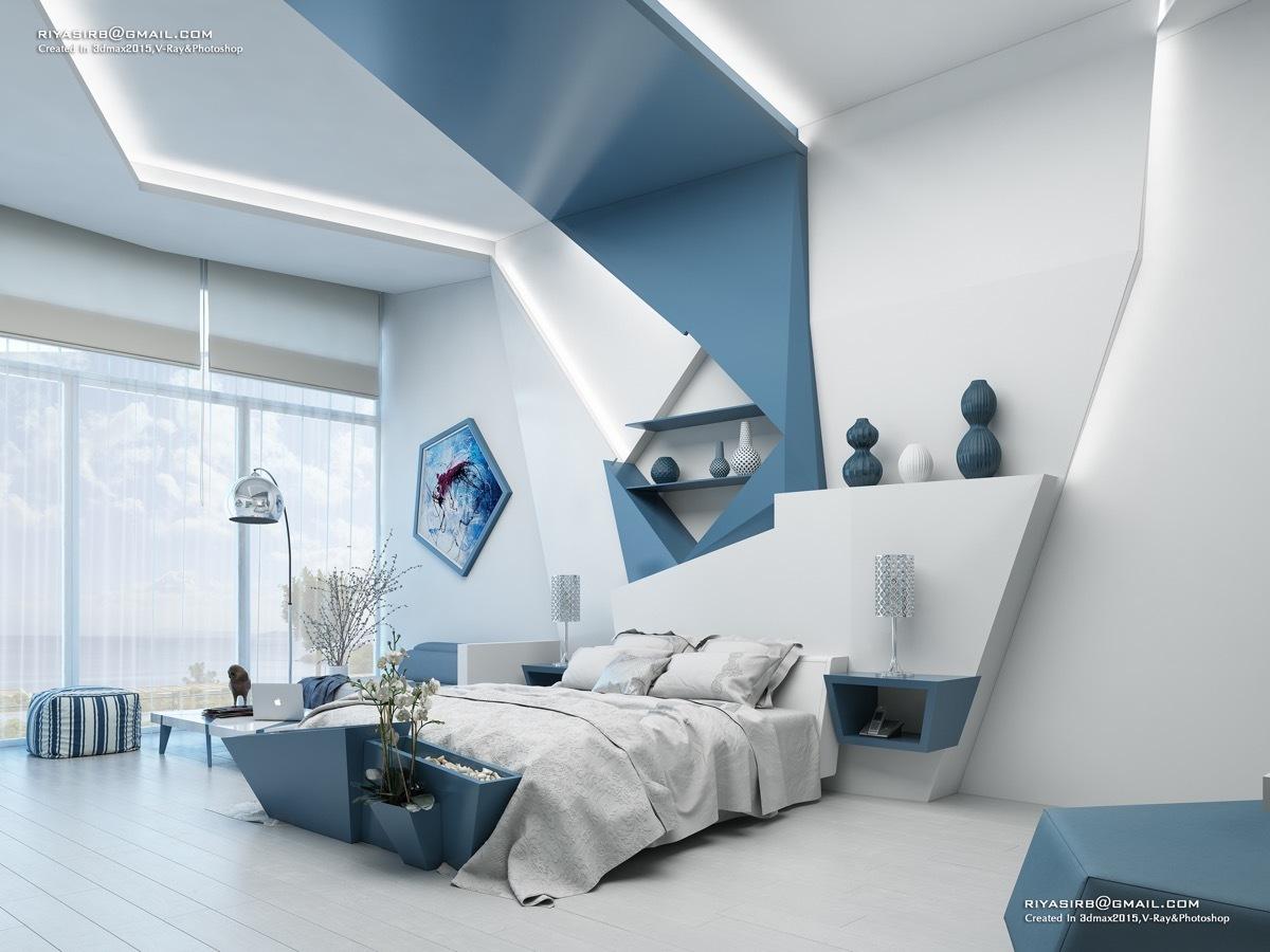 Egyedi tervezésű hálószobai dekoráció párhuzamosok nélkül