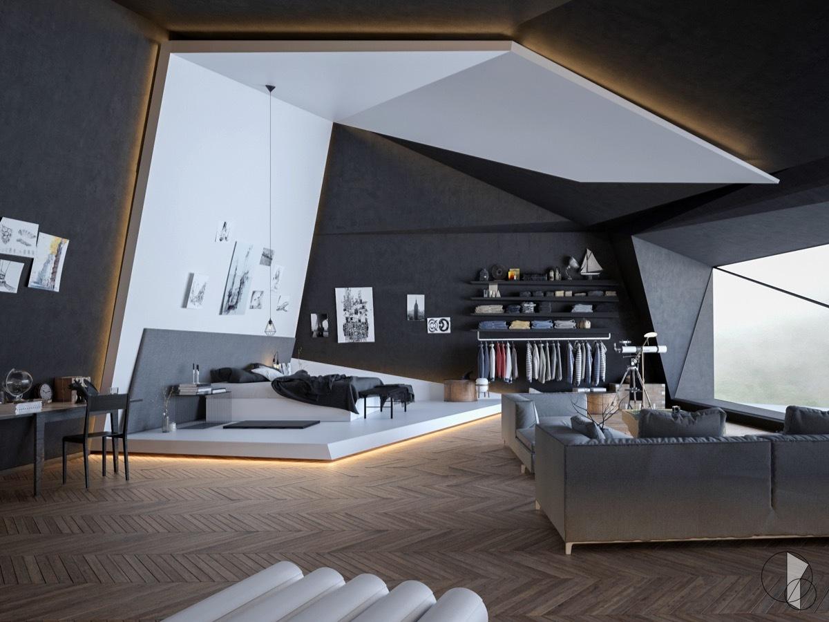 Modern nappali ferde falsíkokkal,, ahol a franciaágy került a fókuszba