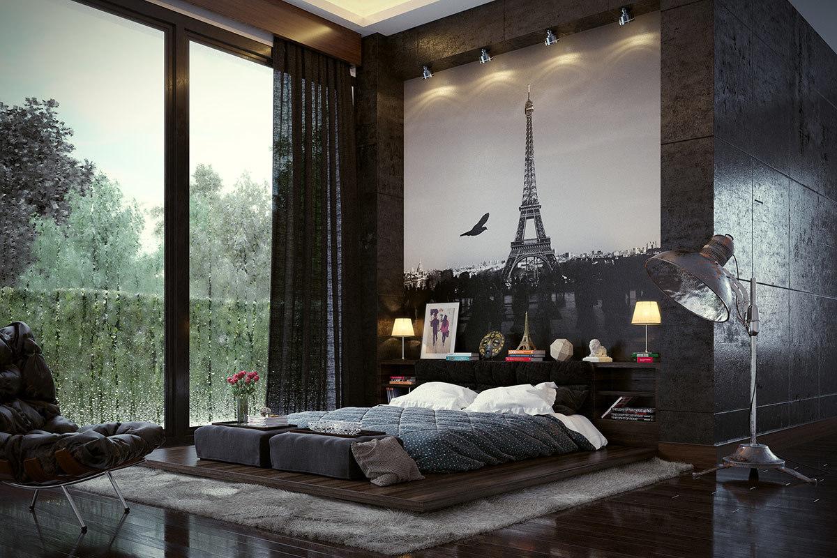 Alacsony franciaágy Eiffel tornyos poszterrel