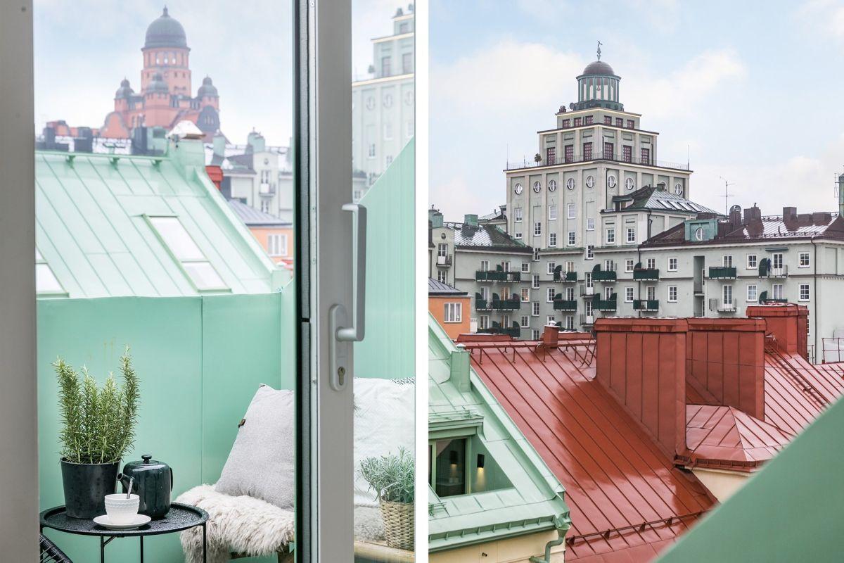 Városi panoráma az erkélyekről
