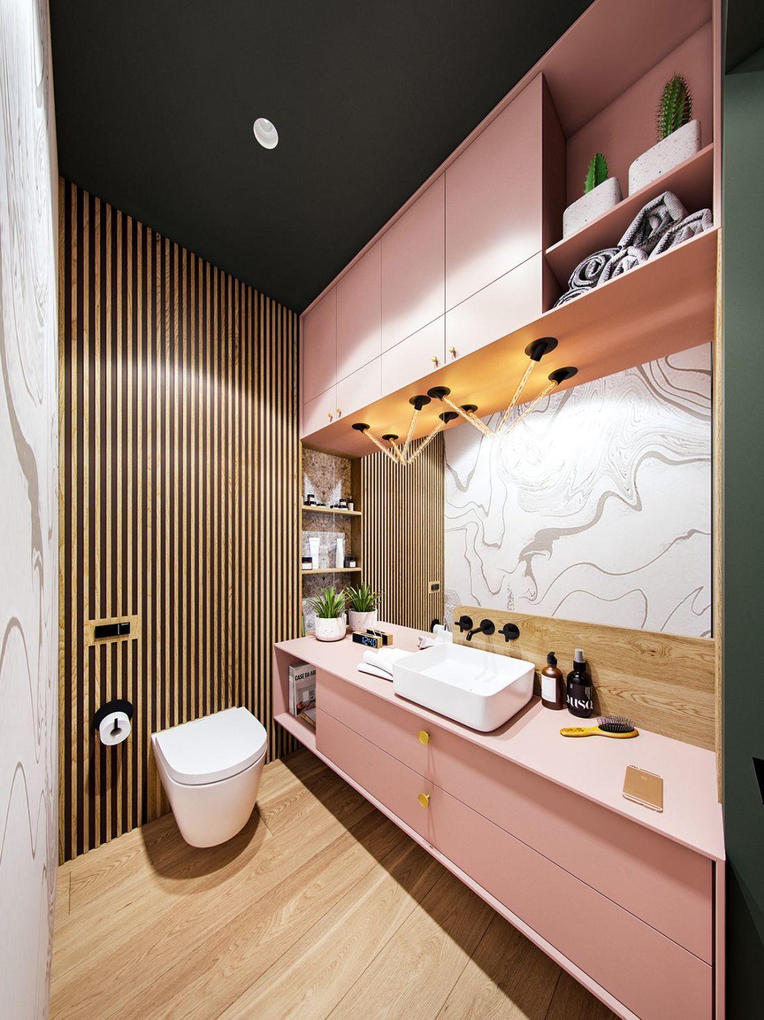Fürdőszoba rózsaszínű bútorokkal