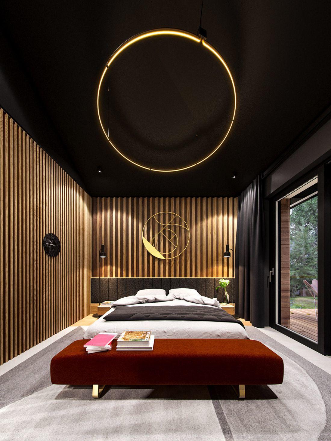 Az egyedi faburkolat a hálószobában is folytatódik
