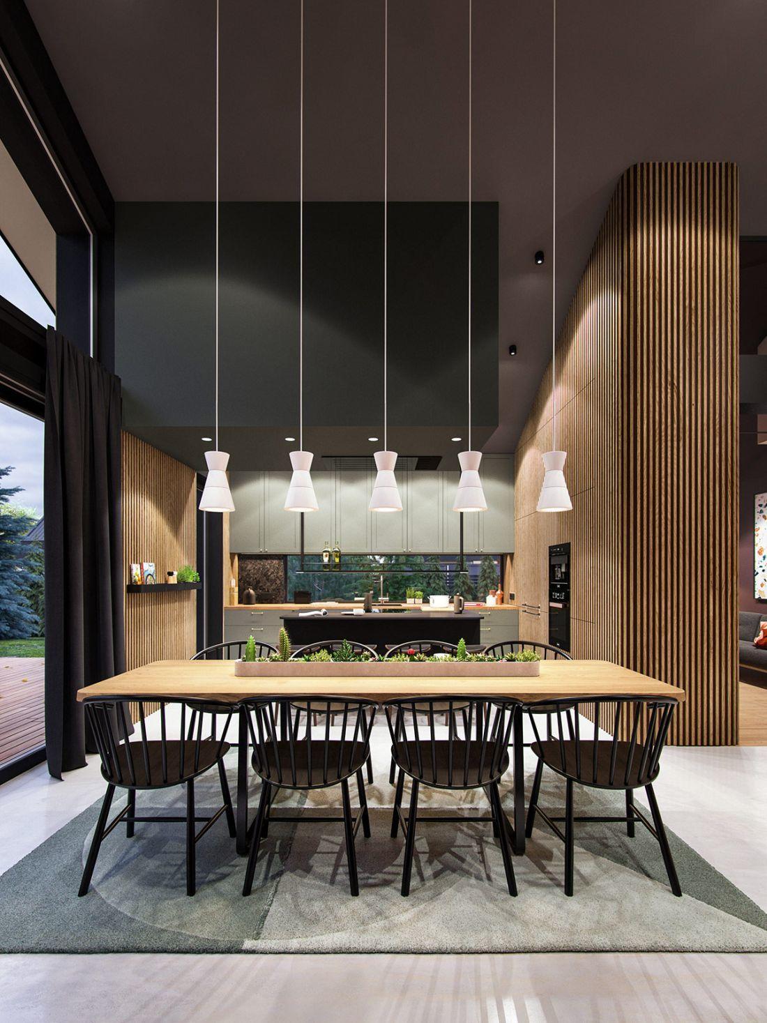 5 függeszték lámpa világítja meg az étkezőasztalt