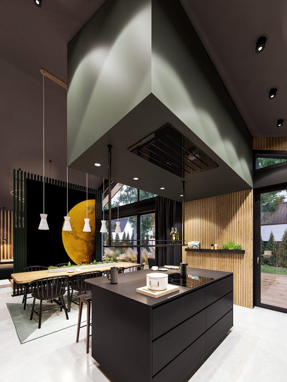 Szigetes konyha álmennyezetbe épített páraelszívóval