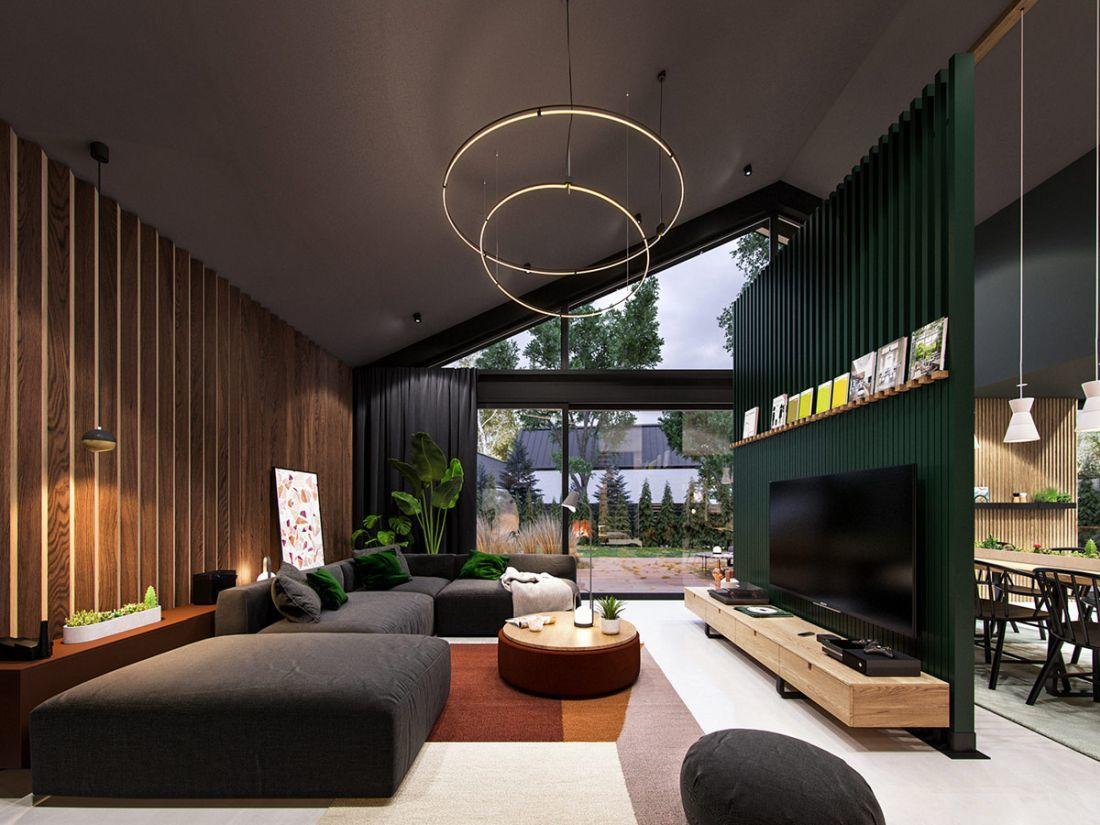 Nyeregtetős ház nappalija