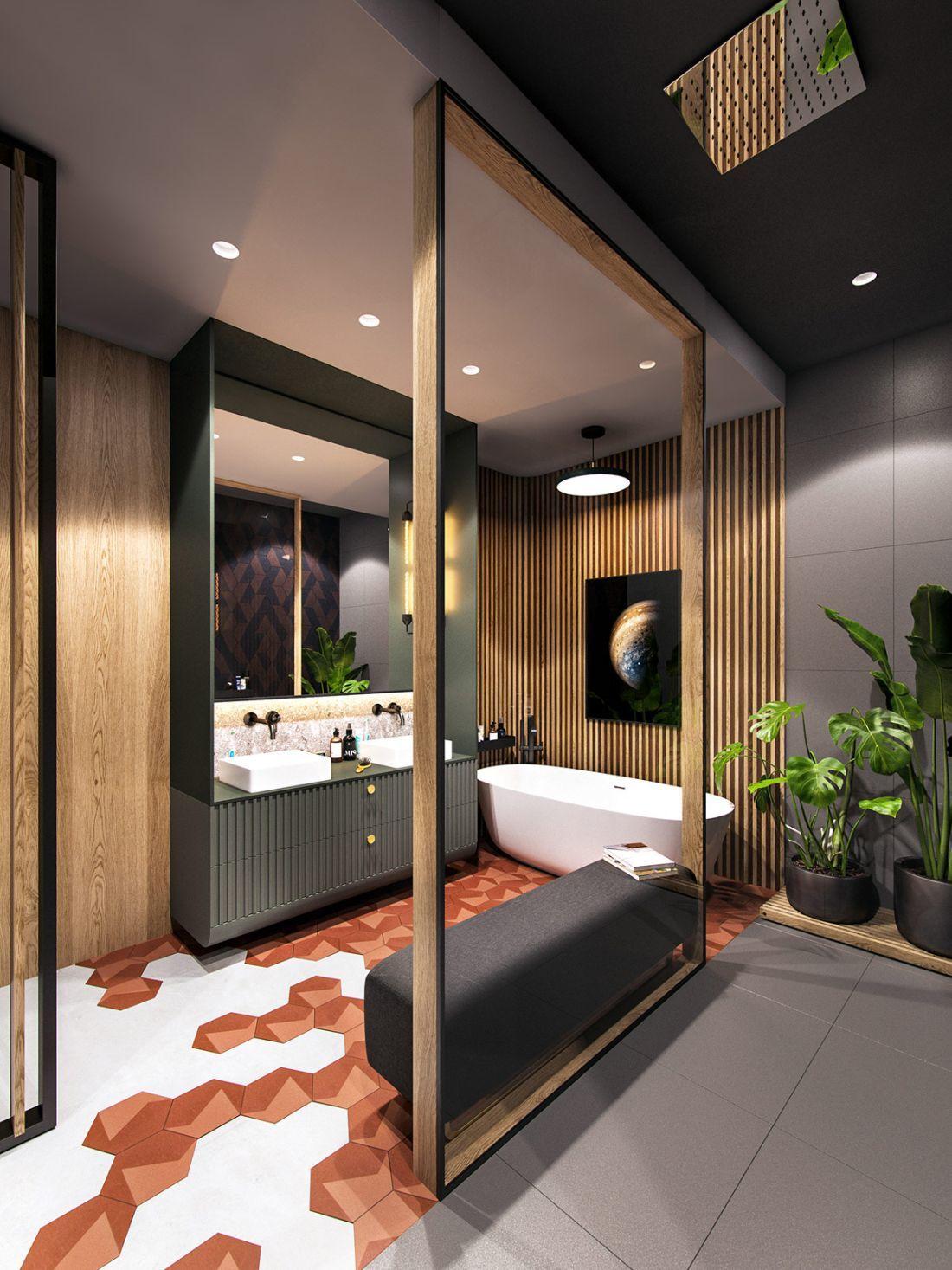 Hatszögletű lapok a fürdőszoba padlóján