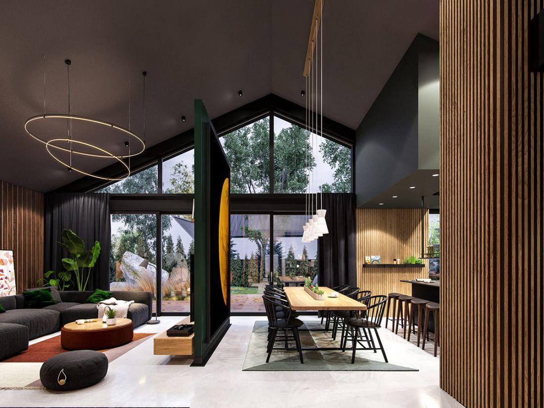 Nagy üvegfelületek világítják meg az étkezőt és a konyhát
