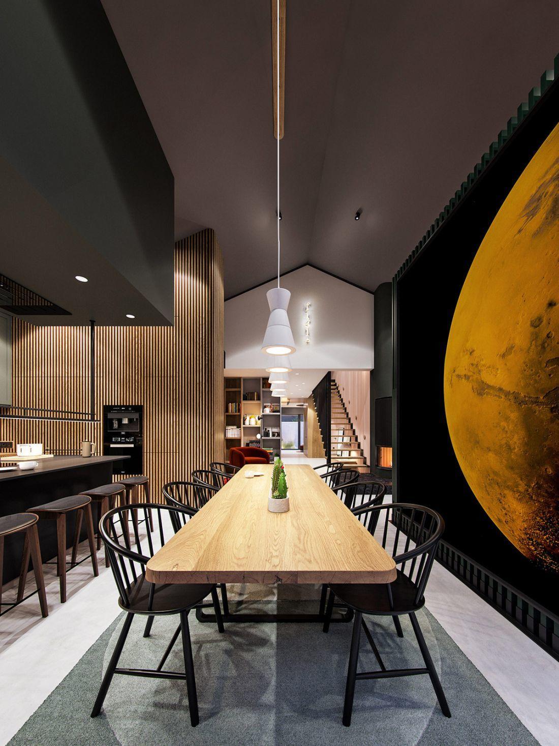 Nagy, Holdat ábrázoló poszter az étkezőben