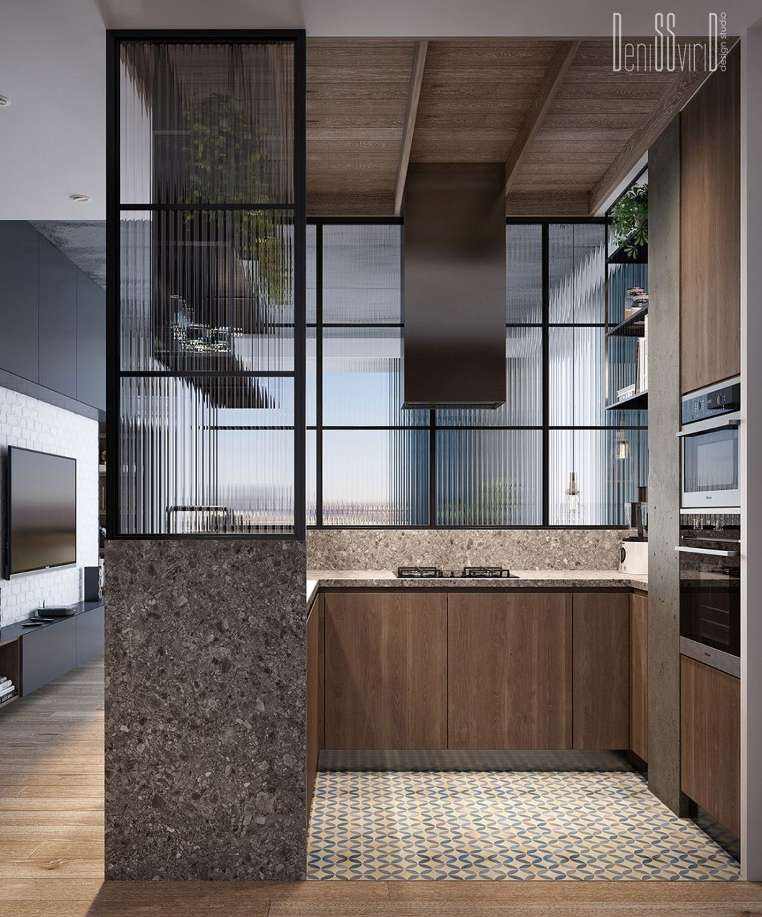 Fülkeszerű konyha kialakítás a lakás középpontjában