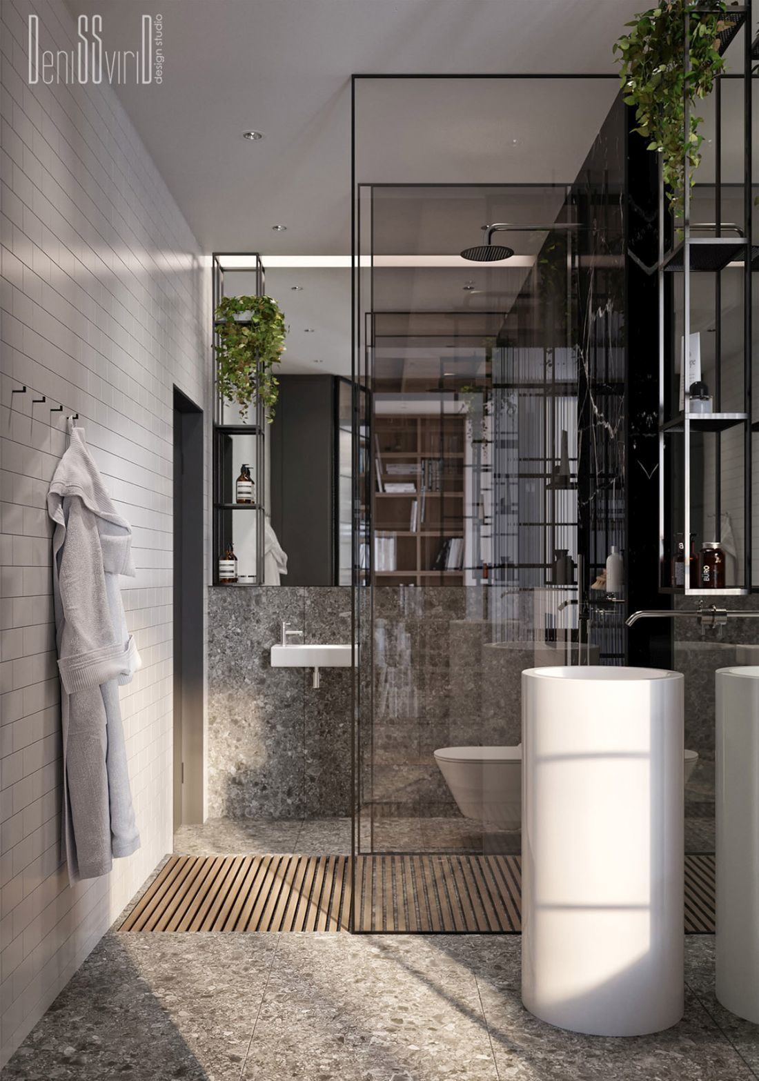 Nagy tükrös felületet kapott a fürdőszoba