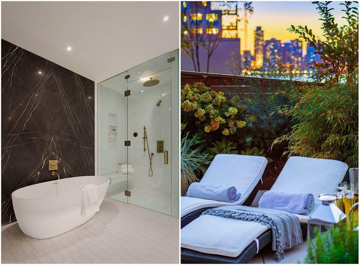 A fürdőben zuhanyzó és fürdőkád is található
