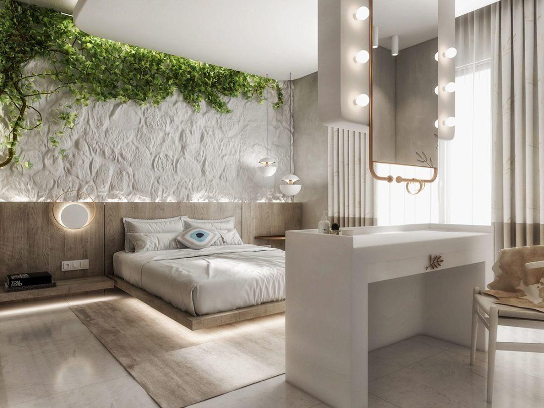 Modern mediterrán hálószoba futónövénnyel natúr színű szőnyeggel