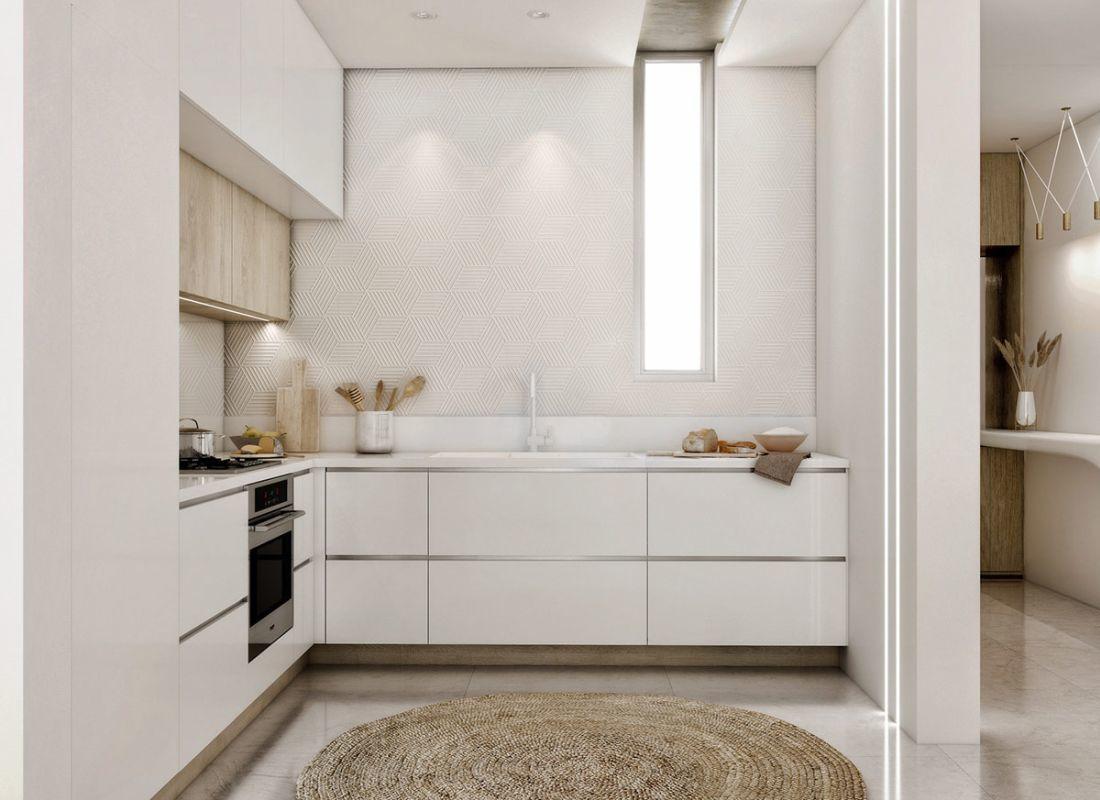 Modern mediterrán konyhabútor fonott szőnyeggel modern mintás falburkolattal