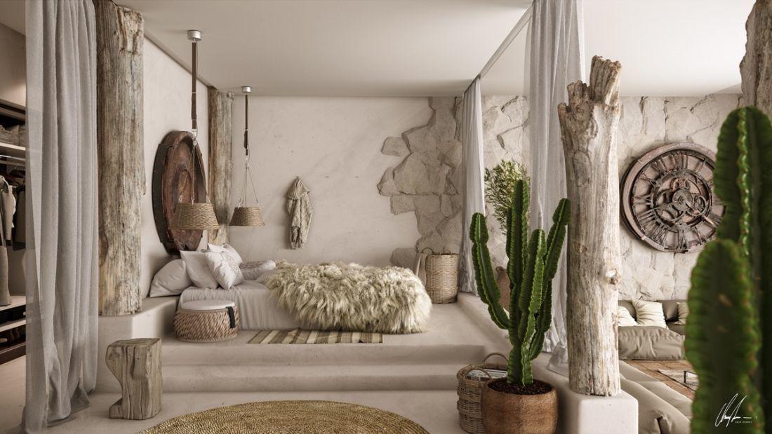 Modern mediterrán hálószoba uszadékfa dekorációval