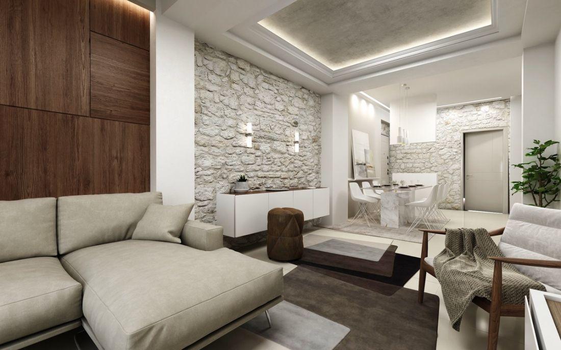 Modern mediterrán nappali erőteljes rusztikus fallal modern bútorokkal