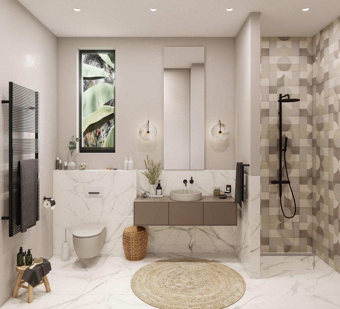 Modern mediterrán fürdőszoba fonott kiegészítőkkel, márvány mintás padlólapokkal