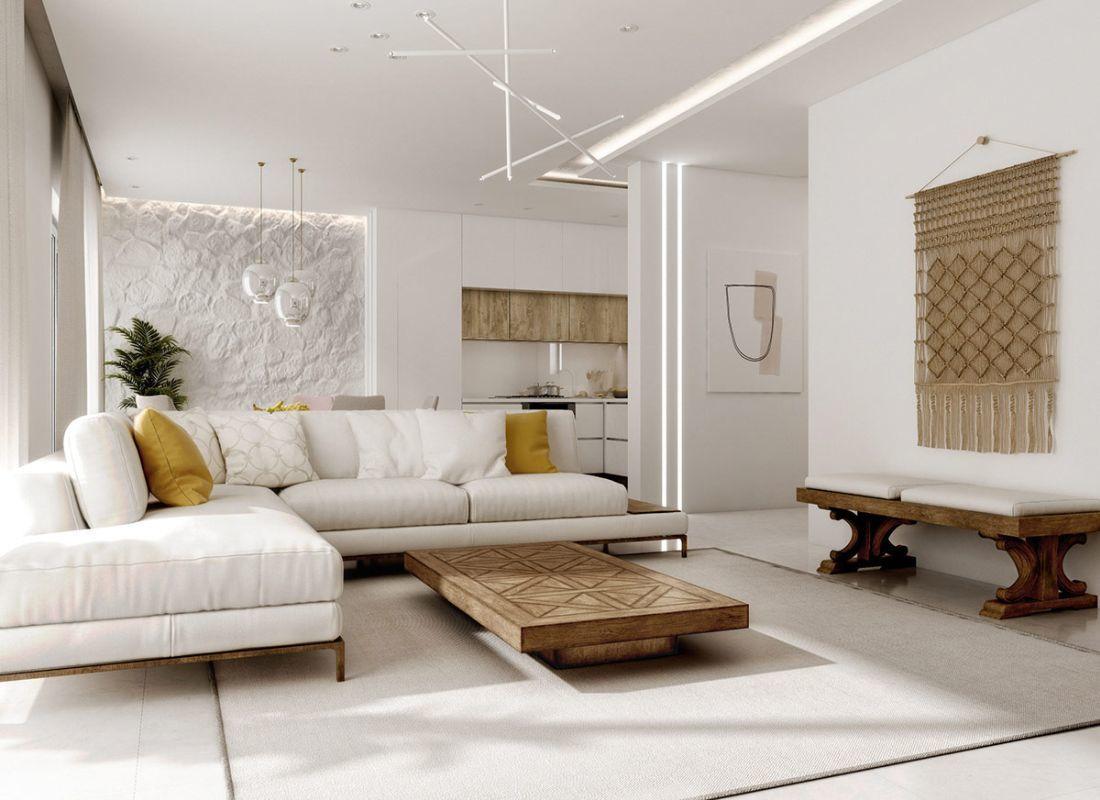 Modern mediterrán nappali tömörfa dohányzóasztallal és makramé falidísszel