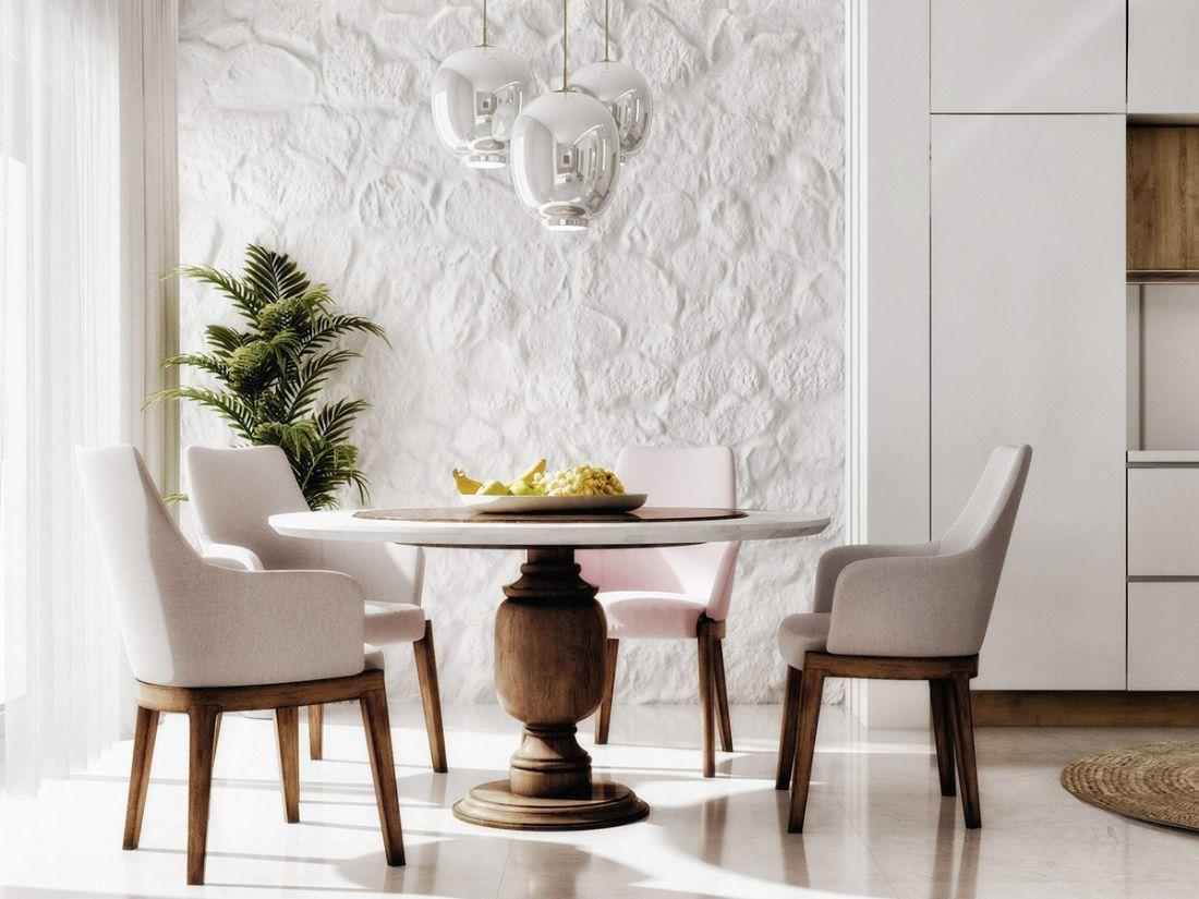 Modern mediterrán étkező fehérre festett rusztikus kőfallal
