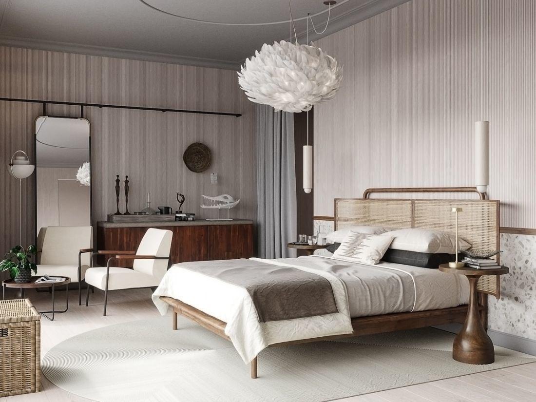 Modern mediterrán hálószoba ahol az ágy nádszövet fejvéget kapott