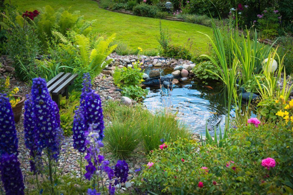 Kerti tó csobogóval, színes kerti növényekkel