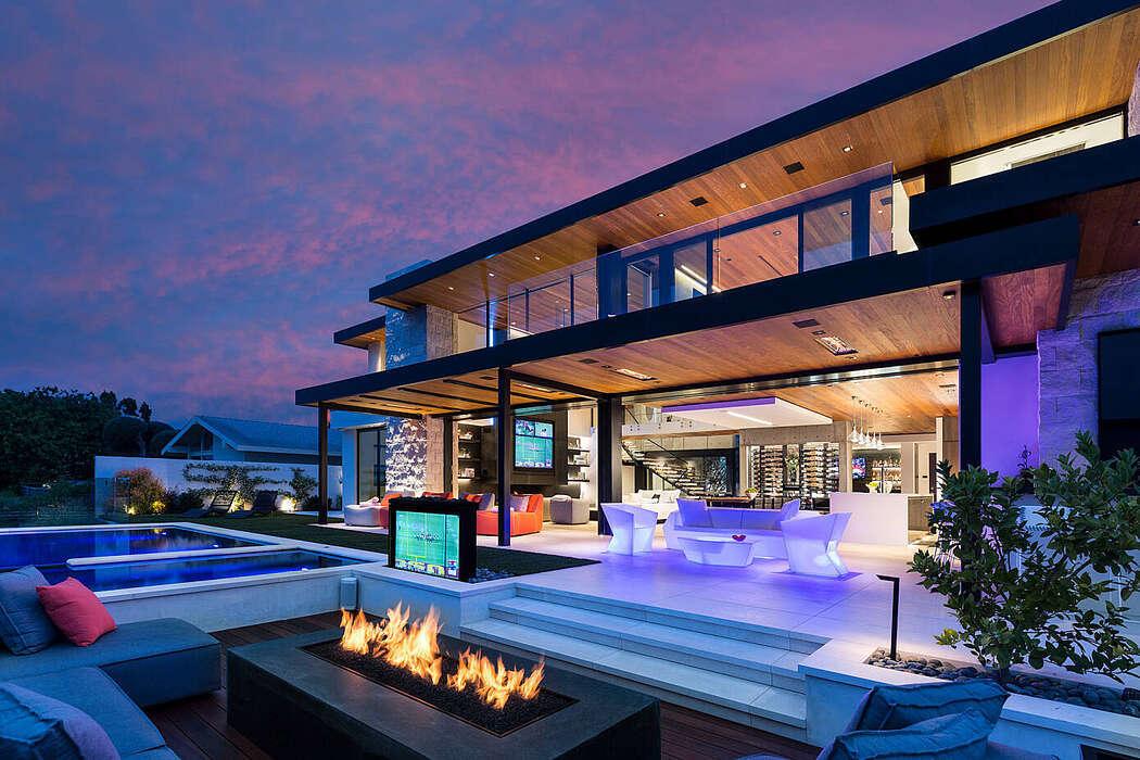 Luxus ház világító kerti bútorokkal