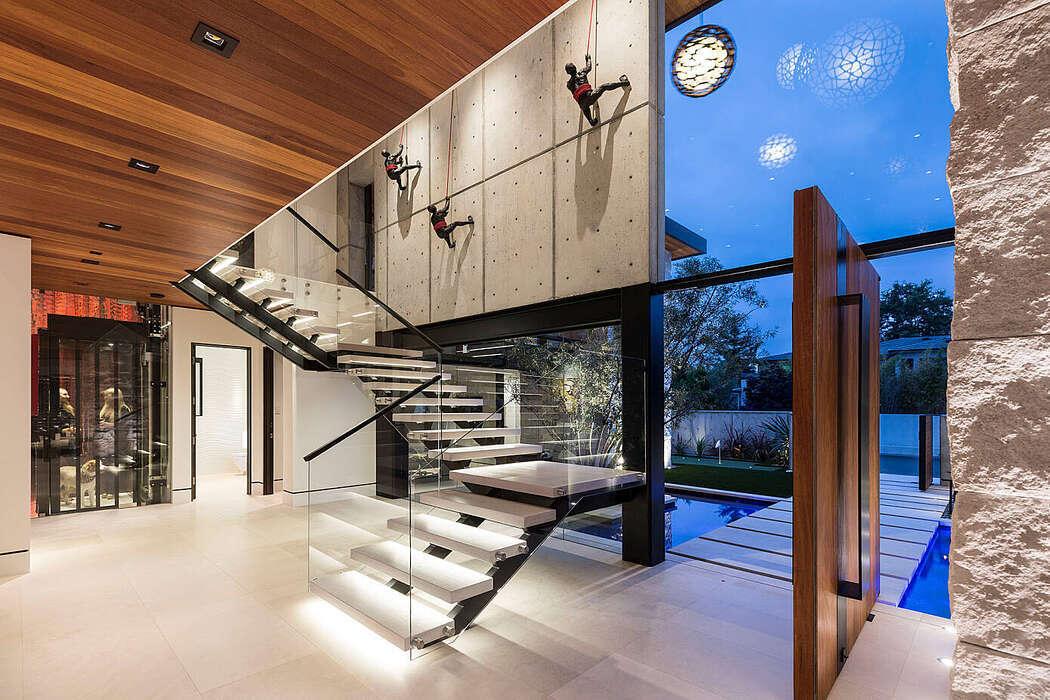 Led fényekkel világított lépcső