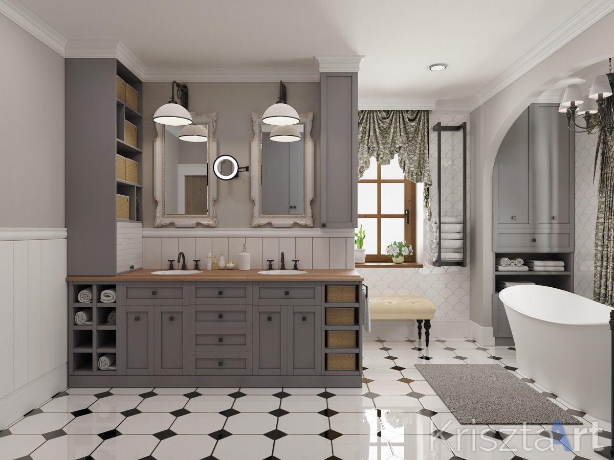 Krisztaart - Provence stílusú fürdőszoba látványterv