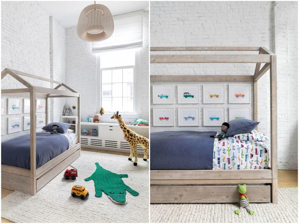 Keretes ágy a fiúszobában