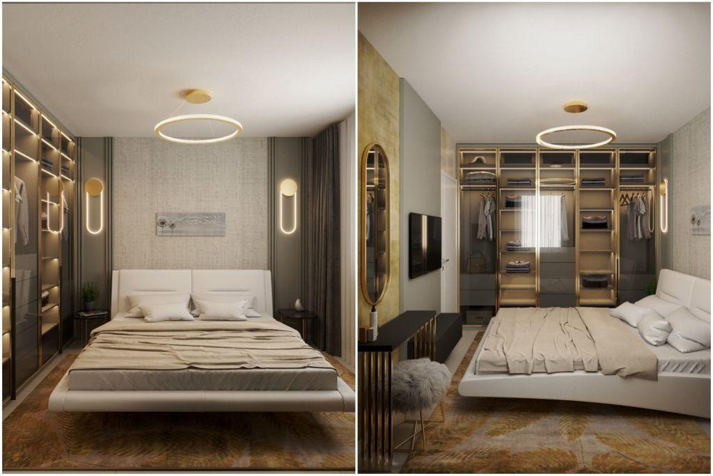 Üvegajtós gardróbbal kombinált luxus színvonalú hálószoba